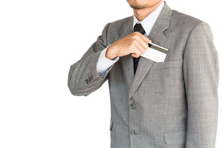 non cash: business man hold credit card isolated white background Stock Photo