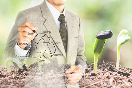 double eposure business man drawing recycle green conserve environment concept Stok Fotoğraf