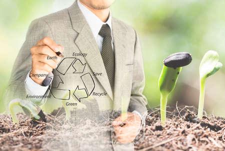dubbele eposure zakenman tekening recycle groene Conserve omgeving concept Stockfoto