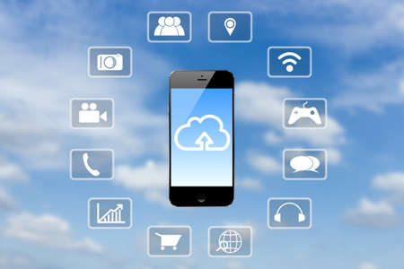 clouds blue sky: smart phone application technology and clouds blue sky background