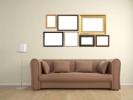 photoframe: picture frame on wall and sofa furniture interior design Stock Photo
