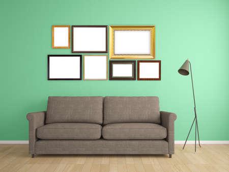omlijsting op de muur en een bank interieur meubeldesign
