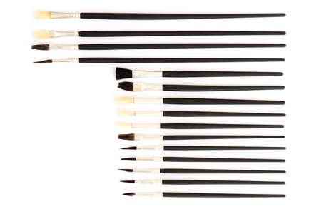 penseel op een witte achtergrond collectie set