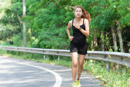 runing: activity beauty women runing in morning Stock Photo