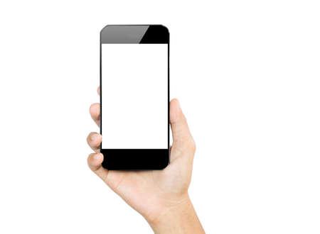 držení: detailní ruka drží mobilní telefon izolovaných na bílém Reklamní fotografie
