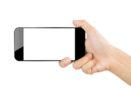 closeup hand hold smartphone mobile isolated on white clipping path inside Stock Photo