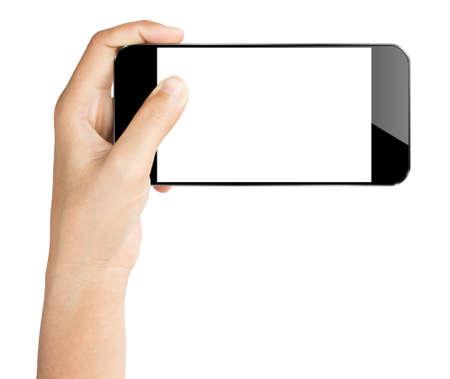 geïsoleerd greep close-up de hand smartphone wit clipping pad binnen