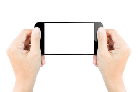 closeup hand hold smartphone show screen display isolated white clipping path inside Stock Photo