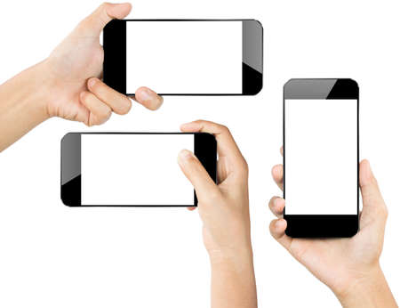 mobile device: closeup hand hold smartphone isolated white Stock Photo