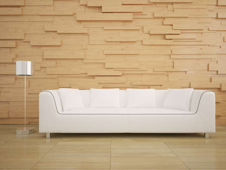 living room wall: Sofa and wood wall in living room modern interior style design