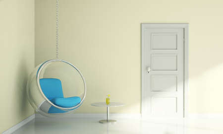 room door: bubble chair and table in living room interior modern design Stock Photo