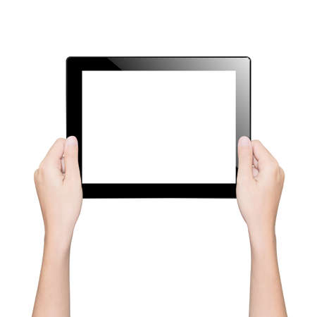 blank tablet: closeup hand holding tablet isolated white clipping path inside