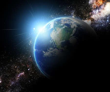 aarde en zonnestraal in de Melkweg ruimte element afgewerkt door nasa