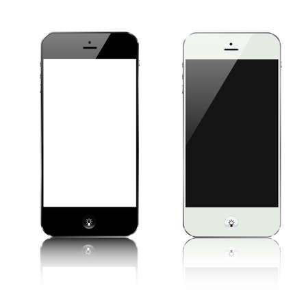 smartphone black and white with lamp idea button vector design