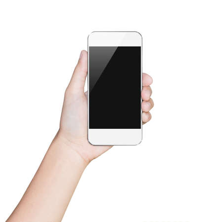 closeup hand hold smartphone white mobile clipping path inside