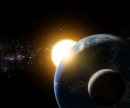 항공 우주국 (NASA)에 의해 완성 은하계 공간 요소에 지구와 달 일출 스톡 콘텐츠