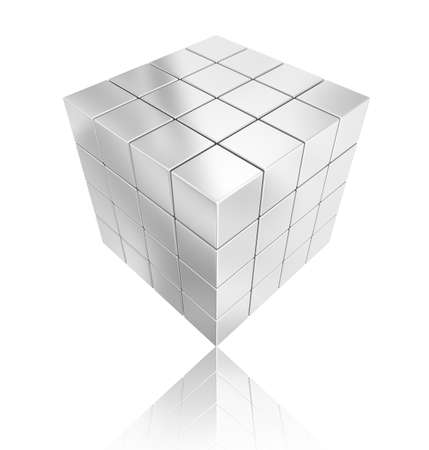 chorme: cube silver geometry abstract background