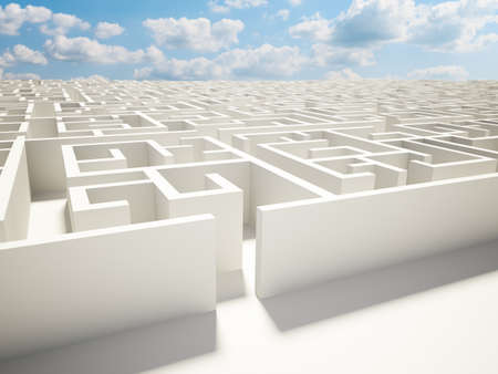 maze wall and blue sky illustration design Stock Photo