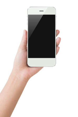 hands: hand hold phone display clipping path inside Stock Photo