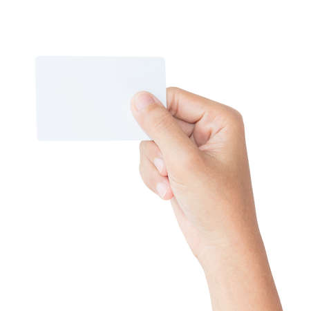 hand hold blank card isolated with clipping path inside Stok Fotoğraf