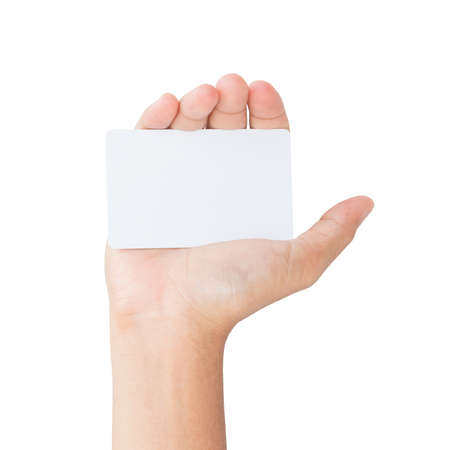 hand hold: hand hold white card isolated clipping path inside