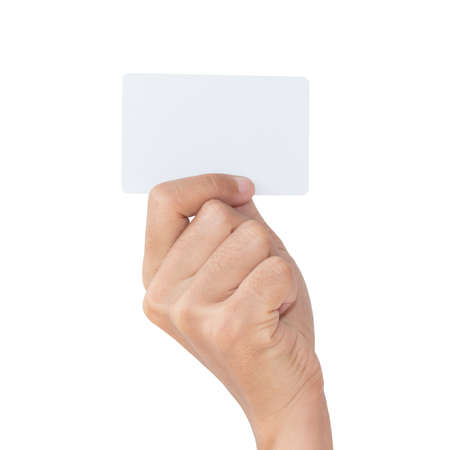 closeup hand hold blank card isolated with clipping path Stock Photo