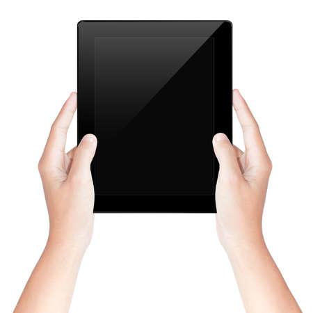 hand hold: hand hold tablet screen isolated white with clipping path inside