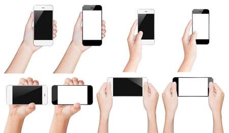 手は黒と白クリッピング パス内で分離されたスマート フォンを保持します。