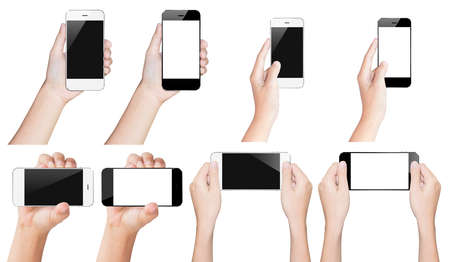 manos: tel�fono inteligente asimiento blanco aislado con trazado de recorte dentro y negro