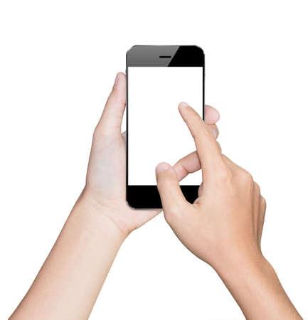 close-up hand met behulp van smartphone witte mobiele clipping pad binnen
