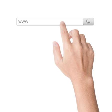 klik: vinger Klik op zoeken www browserwerkbalk geïsoleerde witte achtergrond
