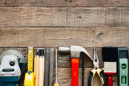 carpentry tools equipment on grain wood on top view Stock Photo
