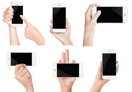 cellphone: hand hold white modern smart phone show screen display isolated set