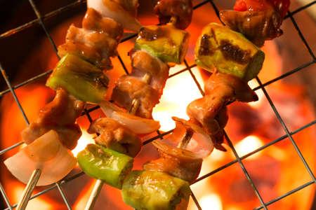 shashlik: Grilling shashlik on barbecue grill