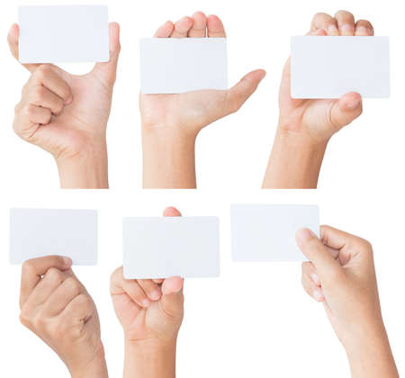 woman holding card: hand hold blank white card isolated with clipping path