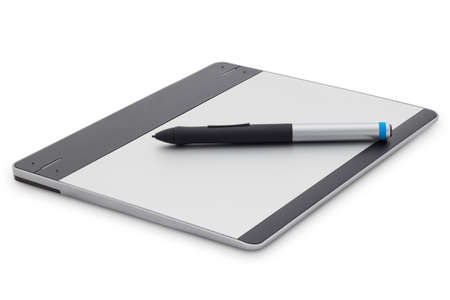 wacom: graphic tablet isolated on white background with clipping path Stock Photo