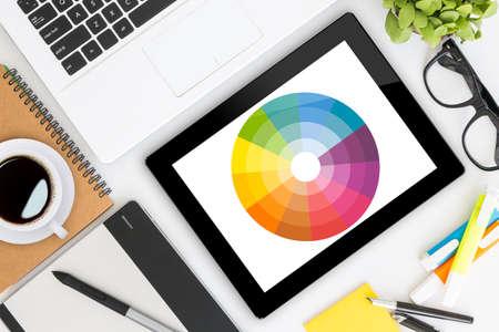 creative graphic design's desk