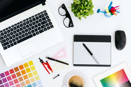 professional creative graphic designer desk Stock Photo - 43675002