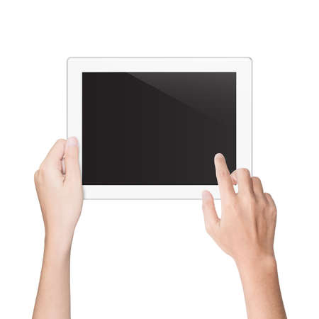 show of hands: hand using tablet isolated white clipping path inside