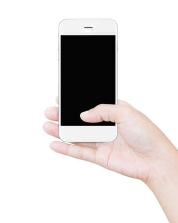 terra arrendada: mão segurando o smartphone recorte tela caminho isolado no branco