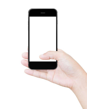 hand holding black smartphone clipping path screen display isolated on white