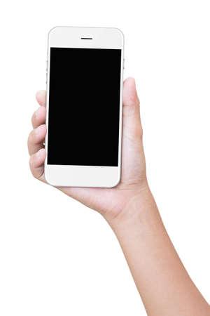 Geïsoleerd close-up hand houden telefoon Stockfoto - 44521531