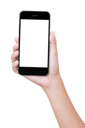 closeup hand holding phone isolated with clipping path Stock Photo