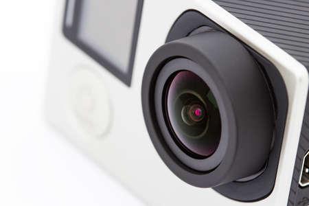 close-up extreem camera op een witte achtergrond