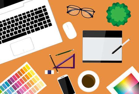 workspace: creative designer workspace vector background