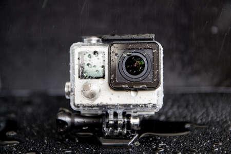 방수 극단적 카메라에 근접 촬영 물 얼룩