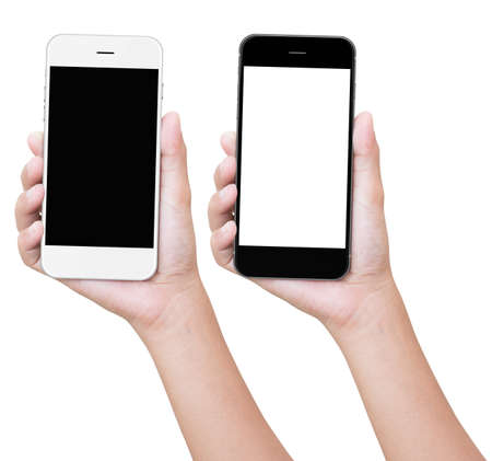 cell phone screen: hand holding phone isolated with clipping path Stock Photo