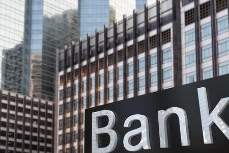 sign of bank exterior building tower 免版税图像