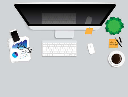 blank space: work desk computer and blank space Illustration