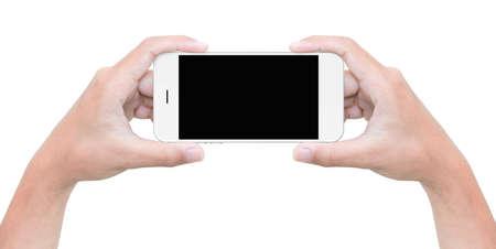 Asimiento de la mano del teléfono aislado en blanco con trazado de recorte en el interior Foto de archivo - 46666074